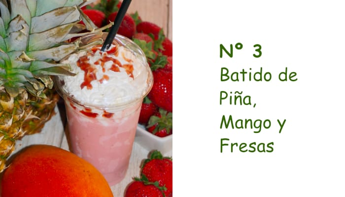 Nº 3 Batido de piña, Mango y Fresas